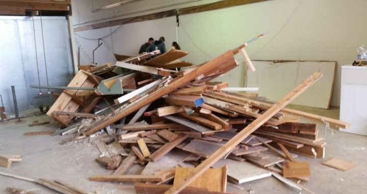 Construction debris removal service includes wood and drywall in Oakland, California