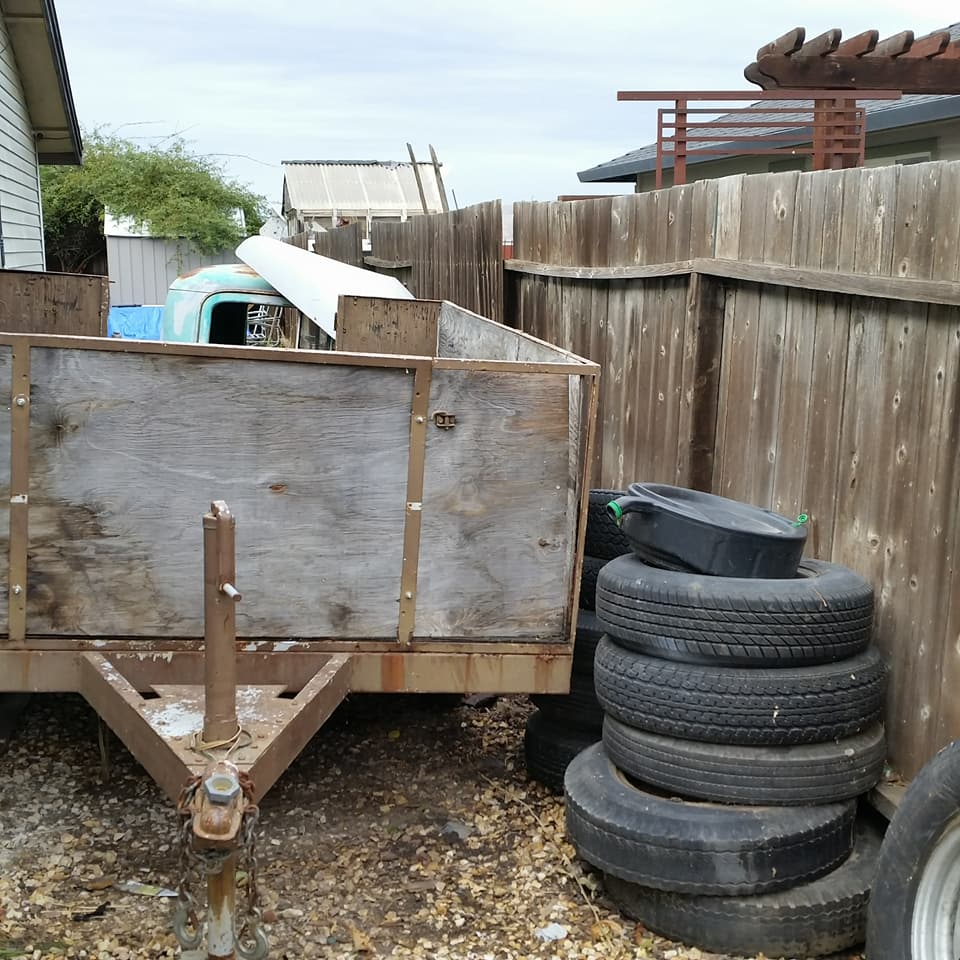 Livermore, CA trash haul, rusty metal car parts and tire disposal