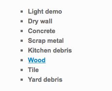 list of construction debris removal services for West Coast Junk