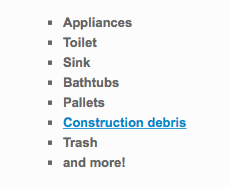 List of construction debris removal services West Coast Junk Provides Oakland and the Bay Area