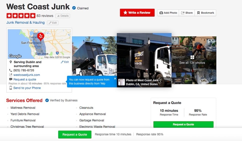 Customers highly recommend positive yelp reviews for West Coast Junk, in Dublin, CA