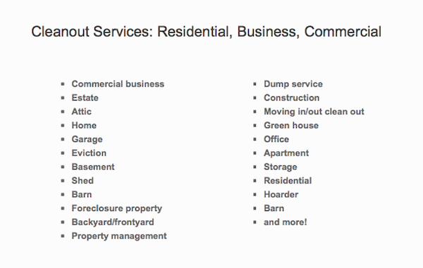 West Coast Junk Cleanout Services Residential Business Commercial