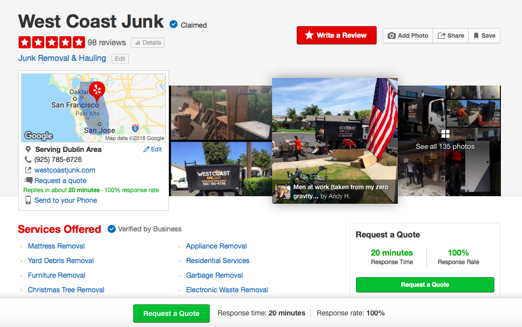 With 98 five-star reviews on Yelp, West Coast Junk, based in Dublin, CA, but servicing the majority of the San Jose metro and San Francisco Bay Areas is the right choice!