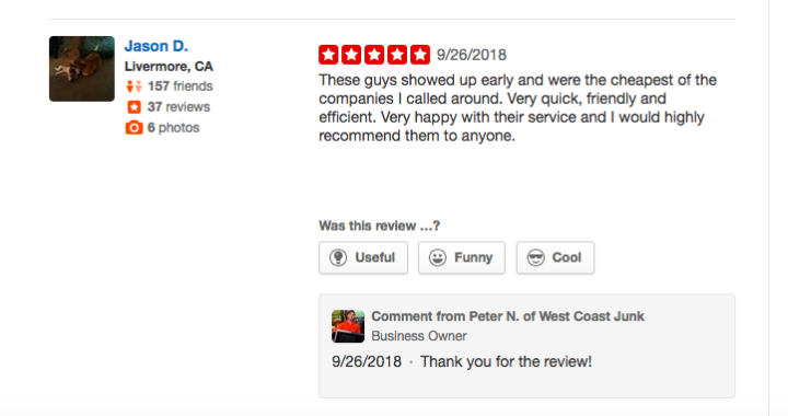 Five Stars Yelp review from Livermore, CA - Fast, Friendly, Efficient