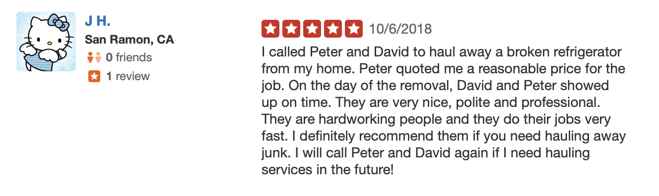 Five Star Review Junk Hauling Service from San Ramon CA
