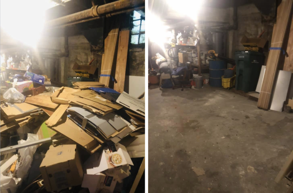 Before and after: storage room cleanout by West Coast Junk in Oakland, CA. All trash cleared!