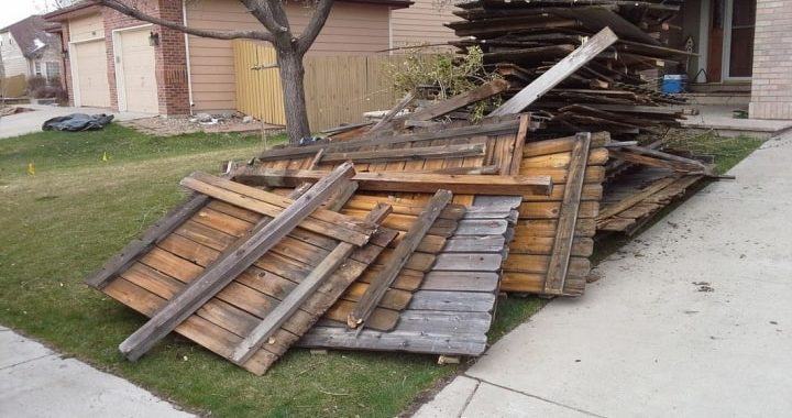Hauling service for wood fence demolition debris
